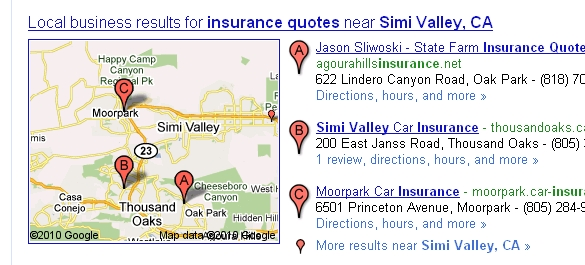 Google local business listing for insurance quotes simi valley