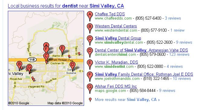 Google Local Business Results for Simi Valley Dentists