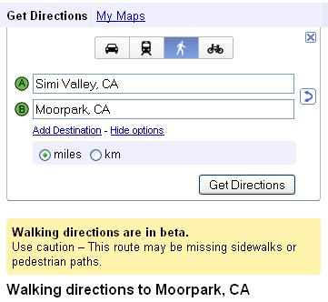 Google Maps - Choose Walking Directions