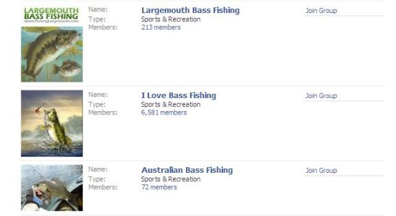 Several bass fishing groups on Facebook